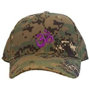 Aum Purple Symbol Embroidered Baseball Cap   Camo