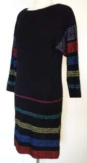 REGINA ULLMANN black/metallic colors WOOL KNIT sweater dress S