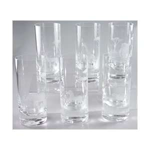 Moser Crystal Clear Endangered Species Highball Set of Six