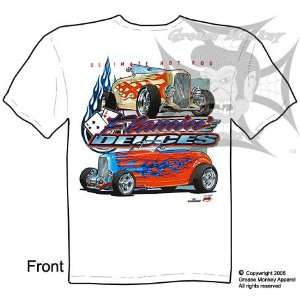 Size XL, Flaming Deuces 32 Ford Roadsters, Hot Rod T Shirt, New, Ships