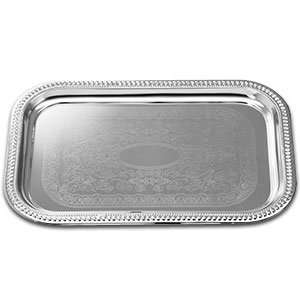 Rectangular Embossed Chrome Plated Metal Catering Tray