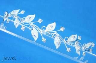 Brilliant Full Blue Sapphire Flower w/ Crystal Bridal Wedding Tiara