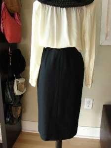 VTG Chanel Pleated Skirt Black Wool & Silk France Sz36