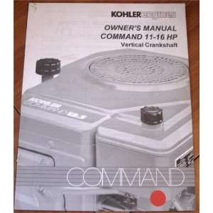 Owners Manual Command 11 16 HP Vertical Crankshaft Kohler Books