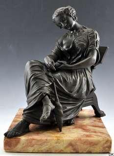 Lovely Antique Auguste Moreau Bronze Sculpture Woman Sitting 1860 1890