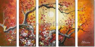 Large 5 Pcs Wall Art Landscape Tree Oil Painting Canvas Bhp357