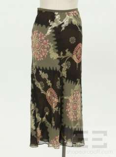 Emanuel Ungaro Green, Peach & Gold Floral Design Chiffon Maxi Skirt