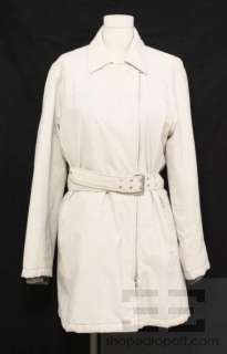 Prada Sport Beige Nylon Belted Trench Rain Coat Size 44