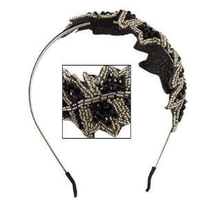 Rosallini Lady Beaded Leaf Detail Black Metal Headband