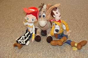 Toy Story LARGE Bullseye Horse, Woody18 & Jessie 16 Plush Dolls Set