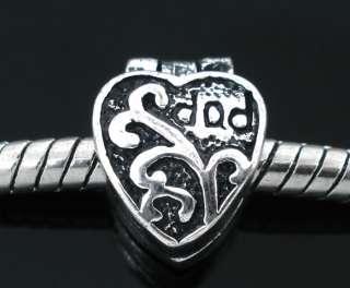 tone Heart Stopper Beads. Clips/Locks Fit Charm Bracelet ☆b17