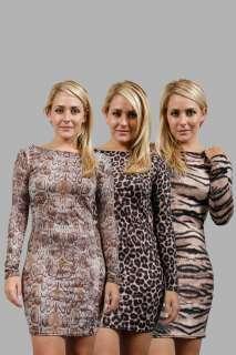 02L WOMENS ANIMAL PRINT BODYCON LADIES LONG SLEEVE EVENING PARTY DRESS