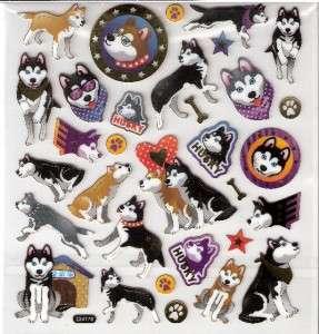 Husky Huskies Dog puppy stickers Bones gold outline