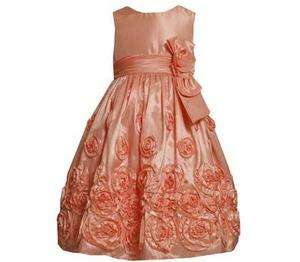 Bonnie Jean Girls Coral Taffeta Rose Wedding Easter Spring Dress 16