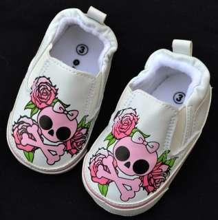 white skull bow kids baby girl shoes size 3 4