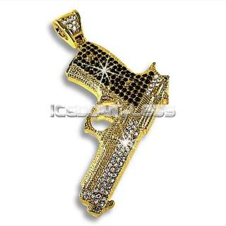 Hip Hop Style Iced Out Gun Glock Pendant Gold Plated