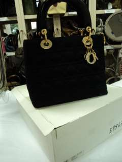 Authentic CHRISTIAN DIOR Black Satin Lady Dior Bag