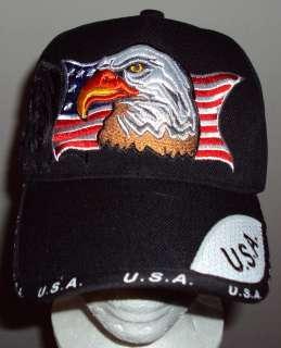 DELUXE PATRIOTIC AMERICAN BALD EAGLE U.S.A. FLAG BASEBALL BALL CAP HAT
