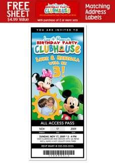 Mickey Minnie TICKET Style Birthday Party INVITATIONS