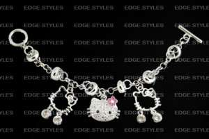 Hello Kitty Cat Swarovski Charm Pink Toggle Bracelet ♥
