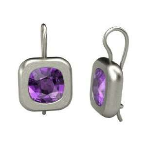 Zhentou Earrings, Cushion Amethyst 14K White Gold Earrings Jewelry