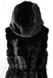Runway Luxury Mink Tiers Faux Fur Vintage Oversized Hooded Long Vest