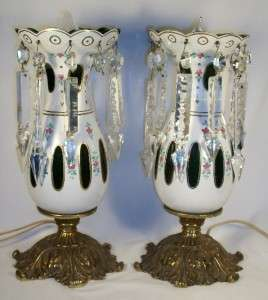 Pair of Antique Bohemian Green Cased Glass Mantle Lustre Lamps w