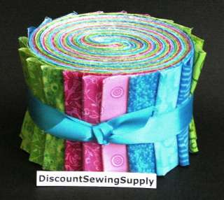 Fabric JELLY ROLL Cotton Candy Quilt Sew Strips Die Cut Pink Green