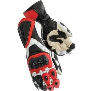 Mens Leather On Road Racing Motorcycle Gloves   White/Red / 2X Large