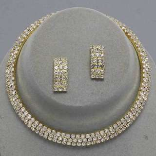 Gold Three Row Clear Rhinestone Earrings Necklace Choker Set New 8518
