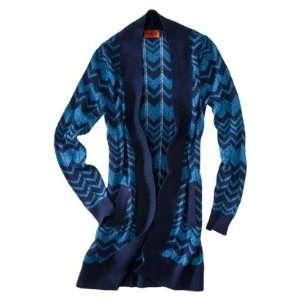 Missoni Long Blue Chevron Sweater Cardigan   EXTRA SMALL
