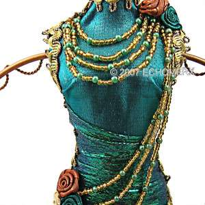 Beaded Tassel Dress Doll Jewelry Stand Mannequin blue