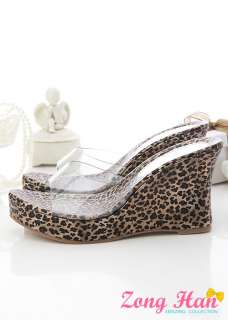 Sexy Leopard Print Clear Wedge Platform Sandals
