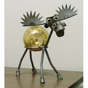 Moose Recycled Scrap Metal Gazing Globe Stand with Gold Leaf