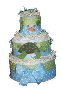 and Green Under Sea Turtle Baby Boys Diaper Cake Shower Center Piece