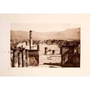 1901 Photogravure View Forum Pompeii Italy Market Temple