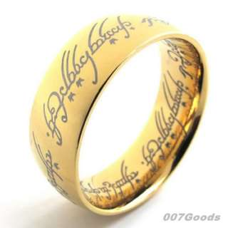 LORD OF THE RINGS LOTR UNISEX GOLD BLACK STAINLESS STEEL The One RING