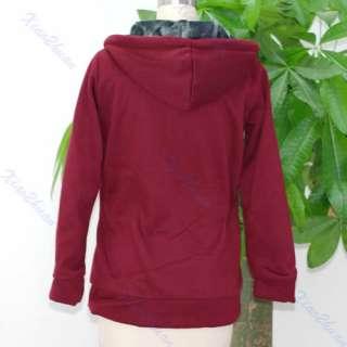 Korean Women Lady Hooded Zipped Cotton Hoodie Coat Jacket Sweats