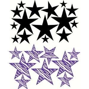 Black & Purple Zebra Star Wall Sticker Decals Variety Set