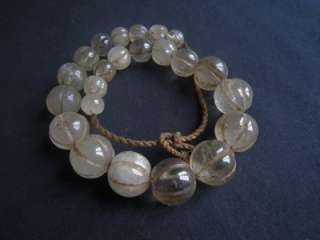 Antique Himalaya TOP LARGE AGED ROUND ROCK CRYSTAL MELON BEADS