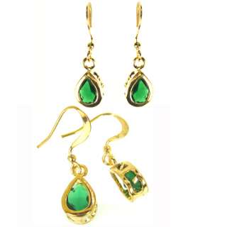 GREEN EMERALD YELLOW GOLD GP DANGLE DROP EARRINGS JEWEL
