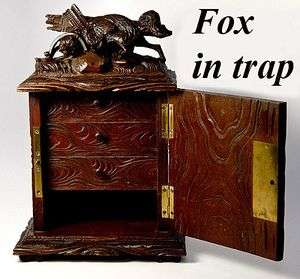 Black Forest Carved Fox, Jewelry Chest, Box, Animaler Style Fox