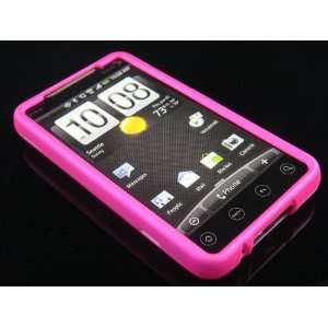 HOT PINK Hard Rubber Feel Plastic Full Cover Case for HTC