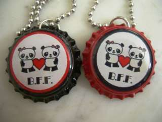 BEST FRIENDS FOREVER BFF PANDAS BOTTLE CAP NECKLACE SET
