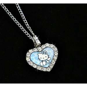 Kitty Blue Angel Wings Heart Charm Necklace w/ Czech Ice Crystals