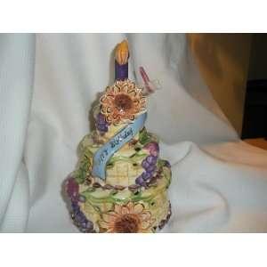 Blue Sky Ceramic Birthday Cake w/ Candle Candleholder
