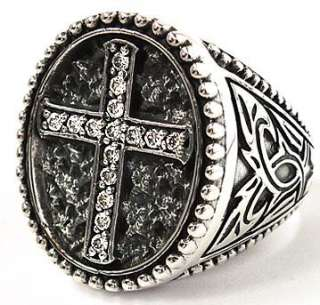 DIAMOND CROSS STERLING 925 SILVER RING Sz 9   GOTHIC PUNK ROCK EMO