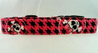 Bright Pink Houndstooth Skulls Cross Bones Dog Collar