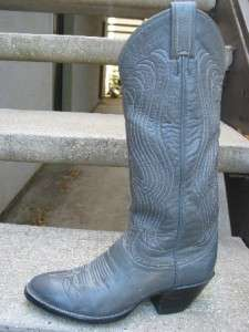 Tony Lama Used Gray Leather Cowboy Boots 4.5 B