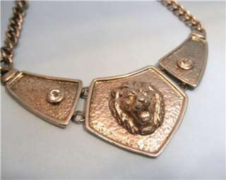 Stunning Raised Silver Lion Head Necklace 2 Crystals 3 Panels